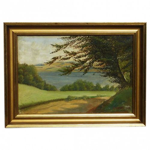 E. Steffensen Scandinavian Danish art oil landscape painting signed and dated 1909