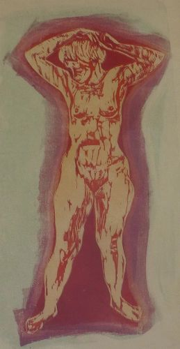 Irvin Amen (1918- 2011) rare woodblock print of a nude woman