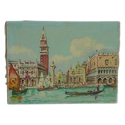 Italian Art Venice Canal gondolas St. Mark's Basilica Church landscape painting