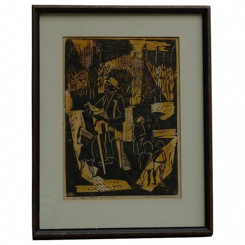 Irving Lehman (1900 -1983) American - Russian well listed artist linocut of a man with the bird playing organ at the Central Park New York