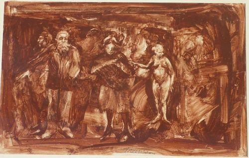 Joyce Wahl Treiman (1922- 1991)  American artist mixed media painting