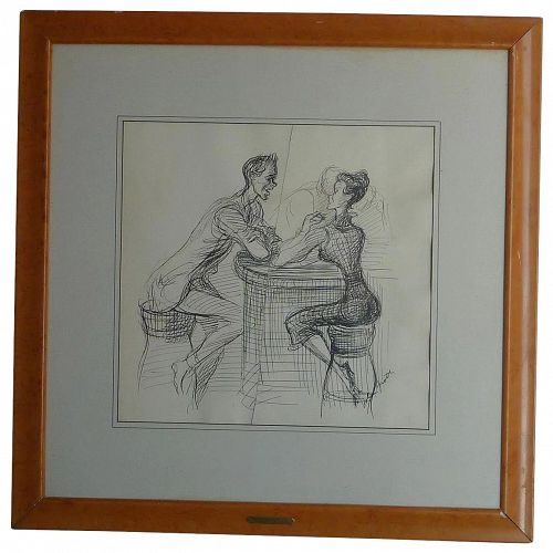John Groth (1908 -1988) charming  original ink drawing of young couple conversing by noted American artist illustrator