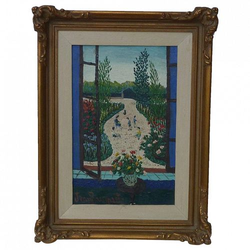 Jean Busquets (1895 - 1962) well listed French artist naive oil painting of bouquet of  flowers in a window