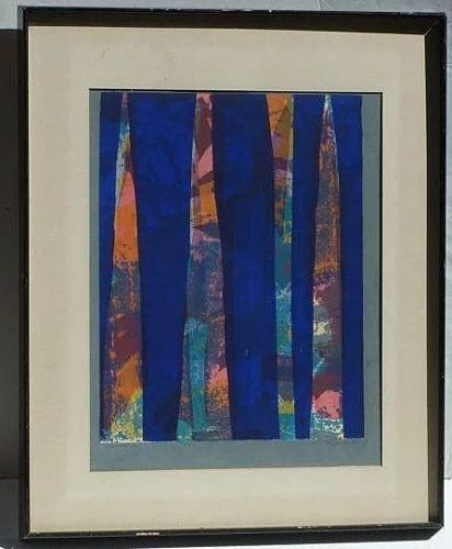Josephine Young Kopenhaver (1908- 1991) 20th Century  contemporary abstract serigraph print blue and orange colors dominant  signed