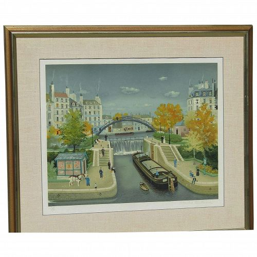 Michel Delacroix (born 1933) French well listed artist color lithograph of city canal pencil signed