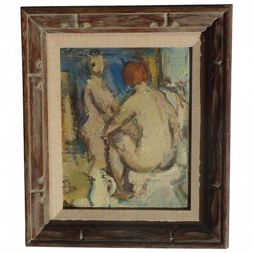 Karel Jan Van Den Heuvel (1913 - 1991) Belgian well listed artist impressionist oil painting of a two nude figures 1943