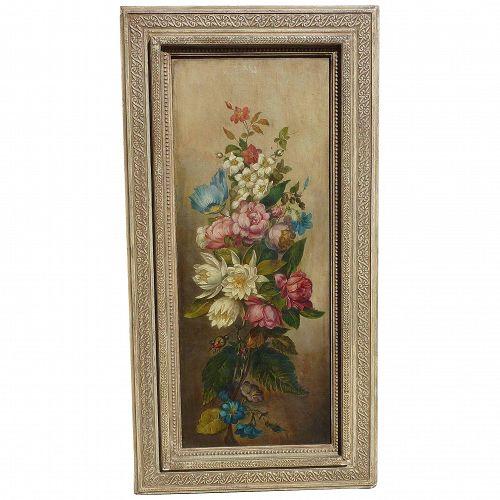 John L. Harding (1806 -1882) American listed artist still life oil painting of flowers