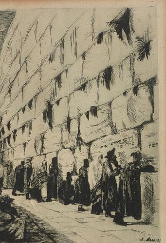 Ludwig Neu (1897-1980) original pencil signed etching of religious men at the Wailing Wall in Jerusalem Israel
