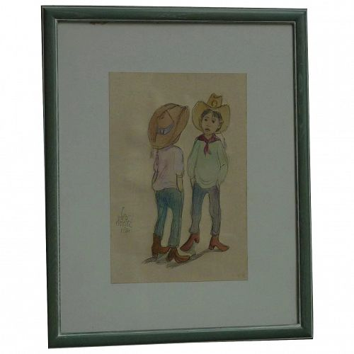 Leo Politi (1908 -1996) original watercolor drawing by noted American Los Angeles artist of two children cowboys 1984