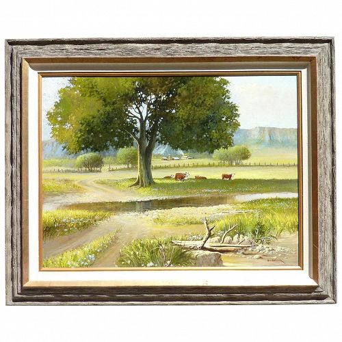 Large painting by Bill Shaddix (1931 -) American listed artist impressionist oil on masonite painting country scene with tres