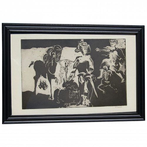 McFarland contemporary artist black and white aquatint original etching signed in pencil female figures animals and horse