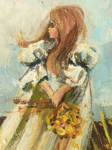 Mid century oil painting of a young girl in the meadows signed