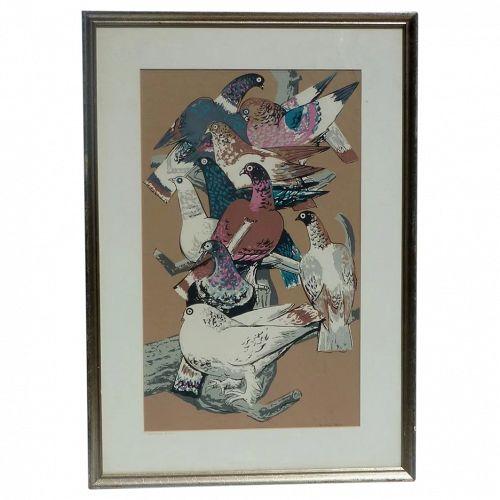"Millard Owen Sheets (1907- 1989) American artist color serigraph print ""Startled Birds"""
