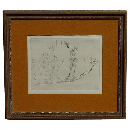 """Marc Chagall (1887- 1985) plate signed etching from """" Dead Souls""""series"""