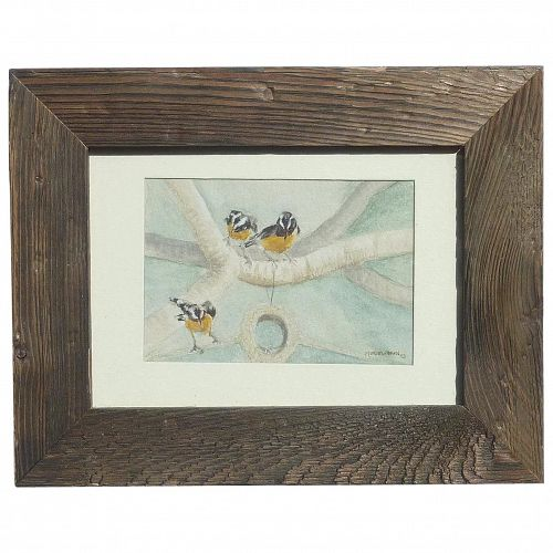 Muriel Spain small watercolor  painting of three birds dated 1983