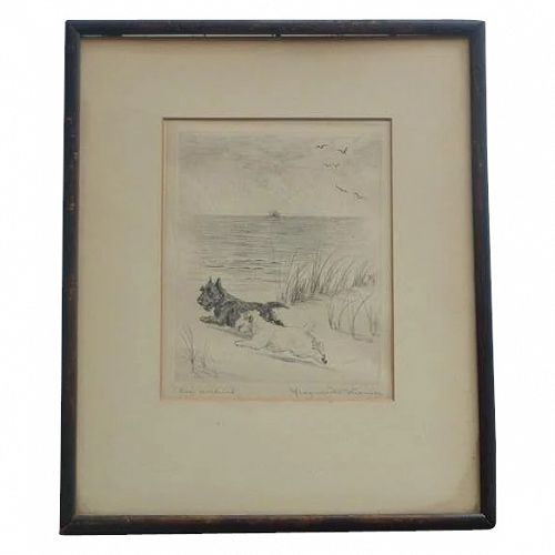 """Marguerite Kirmse (1885 -1954) American well listed artist """"Sea Urchins"""" Dry - point etching print of Scottish Terrier dogs"""
