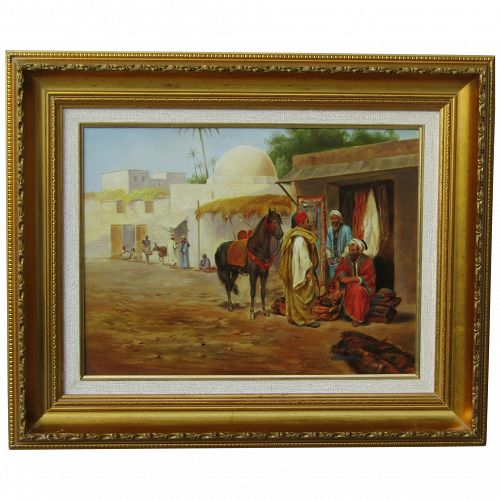 Orientalist art 20th century Middle Eastern oil painting of horse and figures in the desert