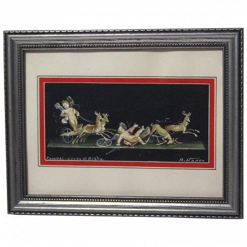A. Nappo Pompeii Italian Deer and Cherub Angels gouache painting