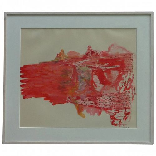 "Modern contemporary colorful abstract expressionist acrylic on mylar painting signed ""Monchera"" red colors are dominant"