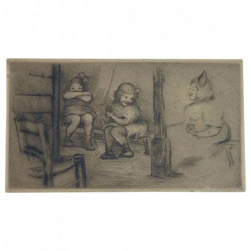 Nell Baker Coover (1869-1955) Dry Point etching of three children in Paris Guignol