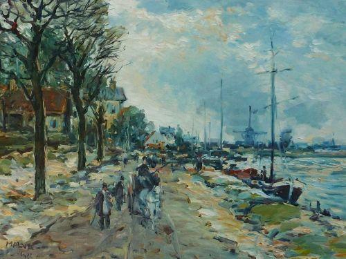 Omar Malva Syrian - Austrian gallery artist large contemporary impressionist landscape painting of street figures harbor ships scene