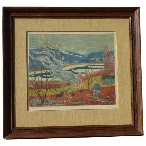 Ole Maehle (1904 -1990) Norwegian well listed artist color lithograph print signed in pencil circa 1949