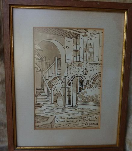 New Orleans Louisiana art original signed drawing of famous Brulatour Courtyard