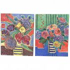 PAIR contemporary impressionist paintings still life of flowers in vases signed SHORKEY