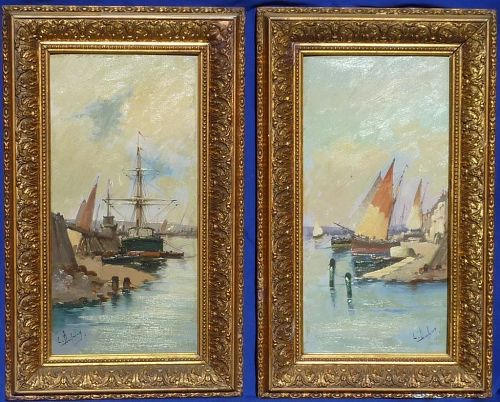 Pair oil on board paintings of harbors by important French artist Eugene Galien- Laloue ( 1854 - 1941)