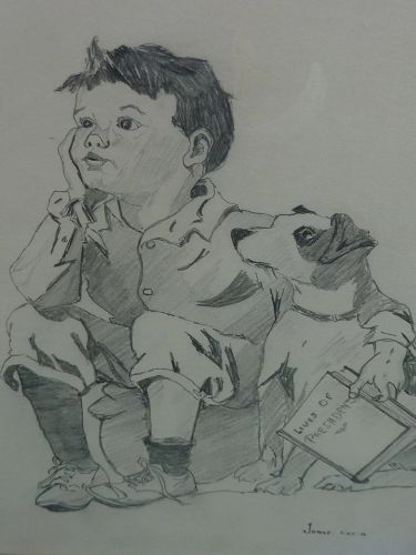 Pencil drawing of young boy and his dog signed and dated 1931�