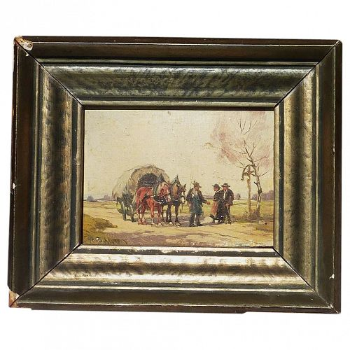 Peter Eichhorn (1877- 1960) miniature oil landscape painting with horses  by listed German artist
