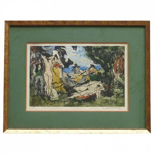 """Paul Louis Guilbert (1886- ?) color aquatint pencil signed limited edition print """" Dejeuner Sur L' Herbe"""""""