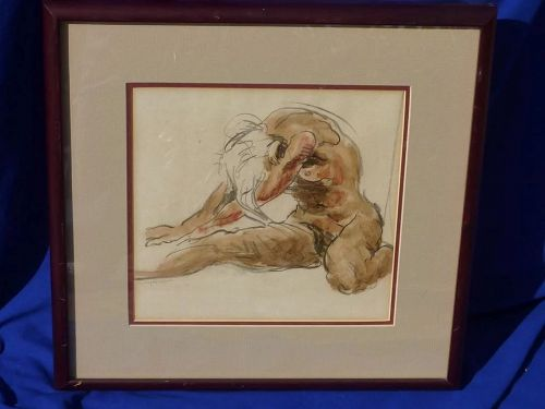 Pencil and watercolor  drawing of a nude woman signed SPENCER