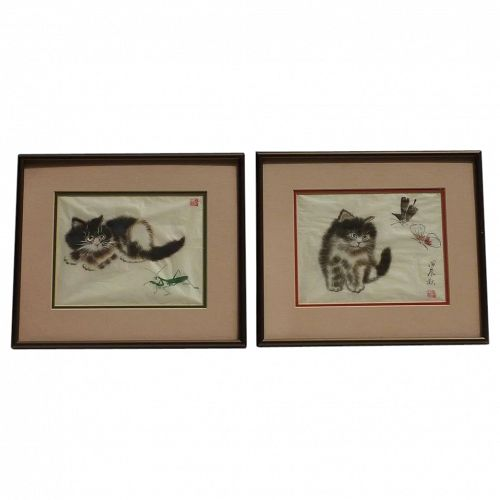 Pair of contemporary Chinese  watercolor and ink paintings of kitten at play
