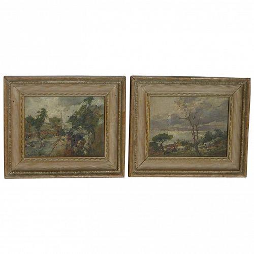 PAIR Giordano Felice (1880 -1964) Italian well listed artist impressionist landscape paintings