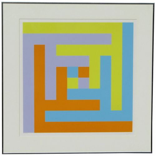 Richard Paul Lohse  (1902 - 1988) Swiss listed artist color serigraph pencil signed limited edition 1963
