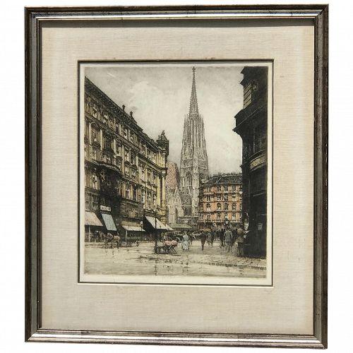 Robert Kasimir (1914-2002) Austrian listed artist original colored etching of street scene with church Vienna Austria pencil signed