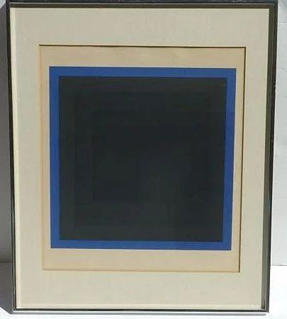 Roger - Francois Thepot French Visual listed artist modernist color serigraph silkscreen geometric blue shades squares print dated 1975