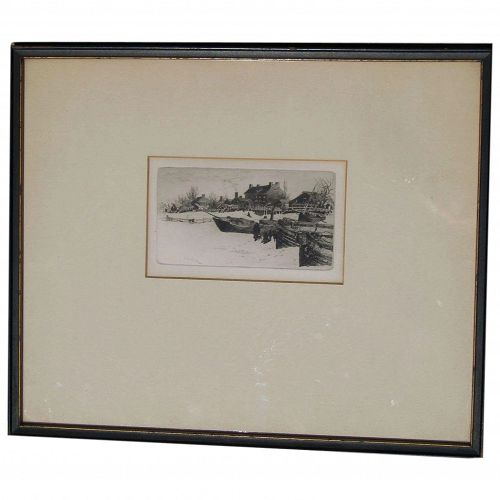 "Stephen Maxfield Parrish  (1846 - 1938) American New England artist etching ""Trenton Winter"" 1883"