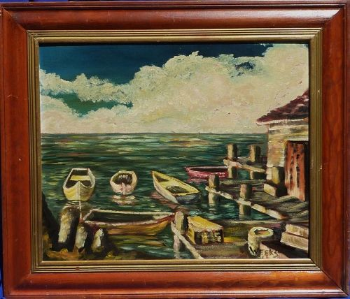 Small boats at the dock impressionist mid century painting signed