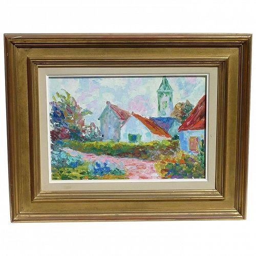 Serge Mendjisky (1929-) well listed French artist impressionist colorful landscape painting France Senlis