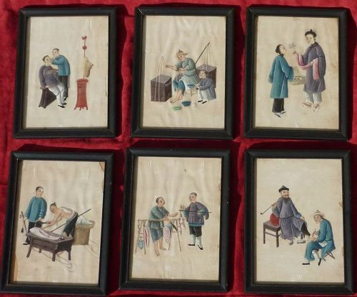 SIX 19th Century Chinese Export paintings on pith paper
