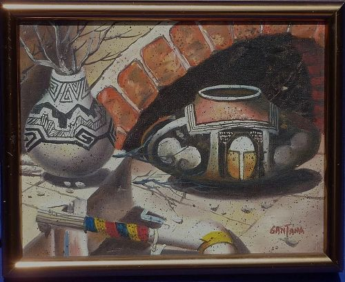 Southwest art contemporary signed painting of traditional painted pots and artifacts