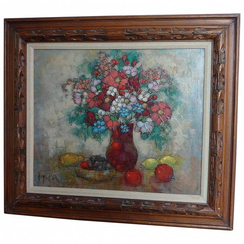 Still life impressionist oil painting of flowers and fruits signed Hugo Casar German artist