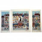 THREE Colorful French Paris France naive folk art city scene pencil signed original serigraphs unframed