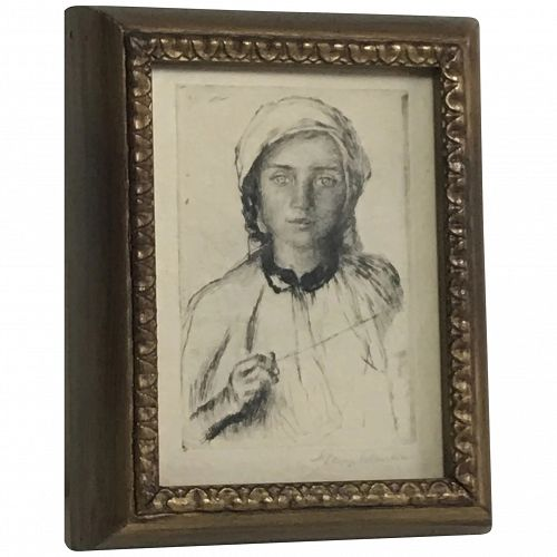 Sir George Clausen (1852-1944) Important British artist etching of a Romanian Girl Pencil signed