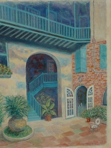 Signed oil painting of New Orleans French Quarter Brulatour Courtyard