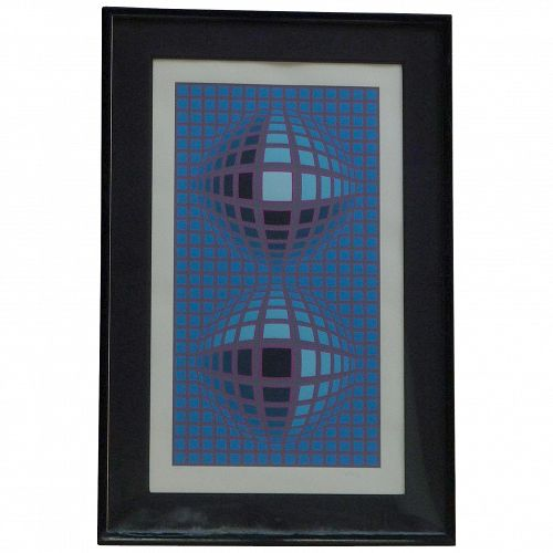 "Victor Vasarely (1908 -1997) pencil signed limited edition OP Art serigraph  titled ""REFLECTIONS"""