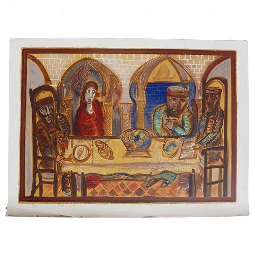 Shmuel Bonneh (1930 - 1999) Israeli Jewish modernist listed artist pencil signed limited edition serigraph