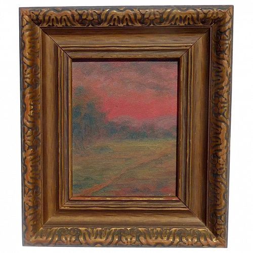 "Old Texas impressionist landscape painting ""Sunset Glow Near San Antonio"""
